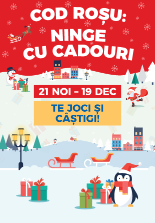 COD ROȘU: La Shopping City Sibiu, ninge cu cadouri!
